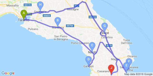 Cartina Itinerari Puglia.Motoitinerari Viaggio In Puglia La Magna Grecia E Il Salento Itinerari Bikershotel