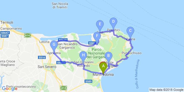 Cartina Geografica San Giovanni Rotondo.Moto Itinerario Attraverso Il Parco Nazionale Del Gargano Itinerari Motoitinerari It