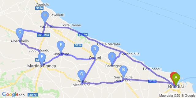 Cartina Puglia Carovigno.Moto Itinerario La Valle D Itria Itinerari Motoitinerari It