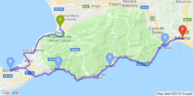 Tour Costiera Amalfitana Cartina.Moto Itinerario In Sella Tra Le Due Costiere Itinerari Motoitinerari It
